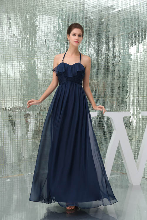 a1e4919b4a New Arrival A Line Halter Chiffon Long Navy Blue Bridemaid Dresses Backless  Prom Dresses Wedding Party Gowns