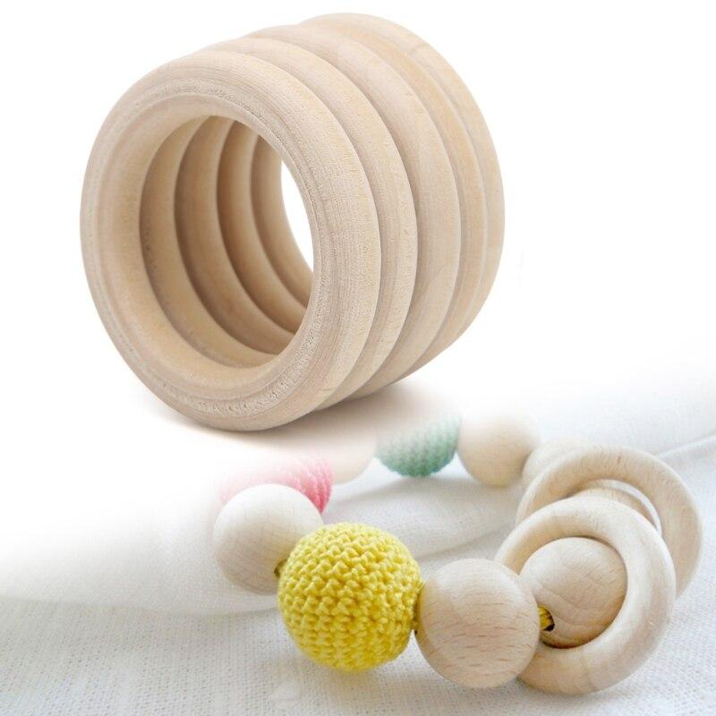 5 шт. натурального дерева круг, кольцо, кулон Инструменты для наращивания волос Бусины DIY ювелирных изделий 30-65mm-m15
