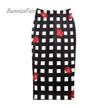 BunniesFairy 2017 Summer Women Black White Plaid Red Lip Geometric Print High Waist Pencil Skirts Slim Fit OL Office Work Wear