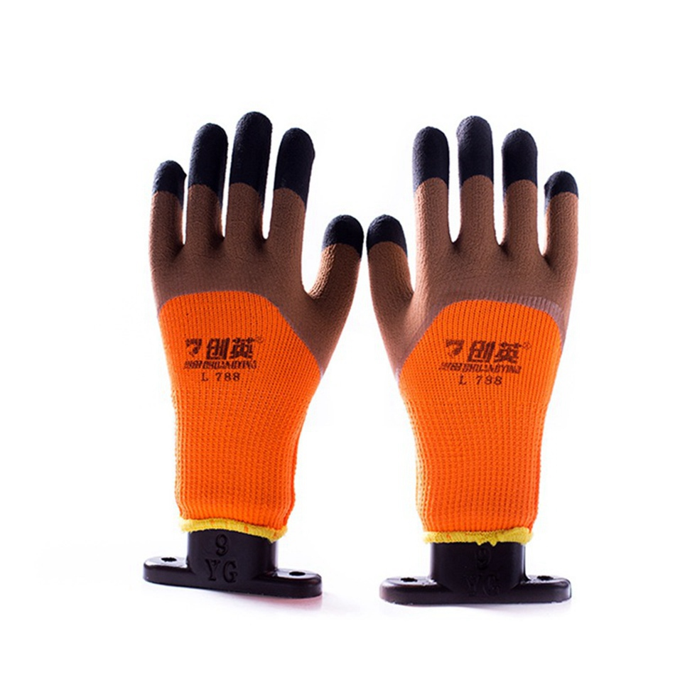 ANGOOD 1 Pair Safety Colorful Gloves Workplace Safety Supplies Winter Hot Wear Non-slip Warm Brushed Work Gloves for Winter welder safety gloves workplace safety supplies security