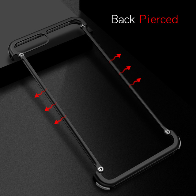 iPhone 7 7 Plus Luxury Shockproof Metal Bumper Airbags Back Case Cover