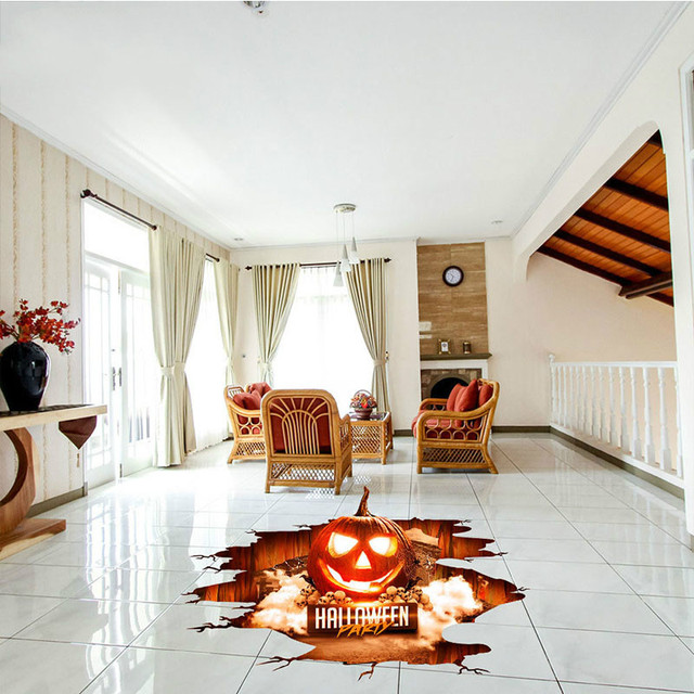 New Diy Wall Stickers Decoration Ghost Horror Bat Spider Pumpkin Wallpaper Waterproof Removable Floor Home Decor