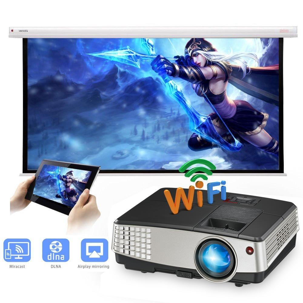 CAIWEI Android WIFI projecteur led lcd HD Vidéo Home Cinéma pour un Usage Domestique 1024x600 Résolution 3600 Lumens HDMI USB VGA proyector