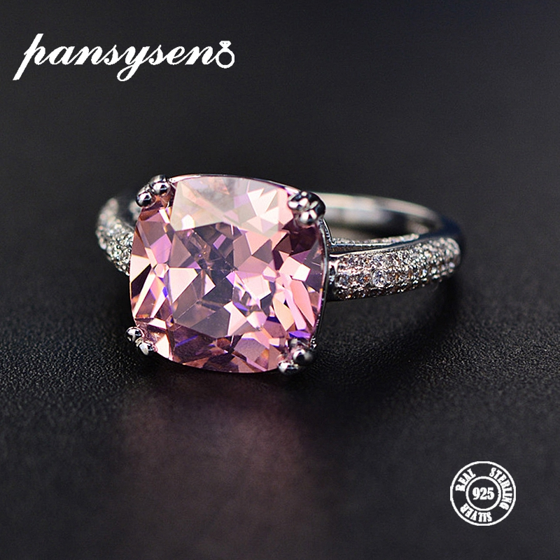 PANSYSEN 100% Solid 925 Silver 12MM Natural Gemstone Jewelry Rings Romantic Women's Wedding Engagement Fine Jewelry Wholesale