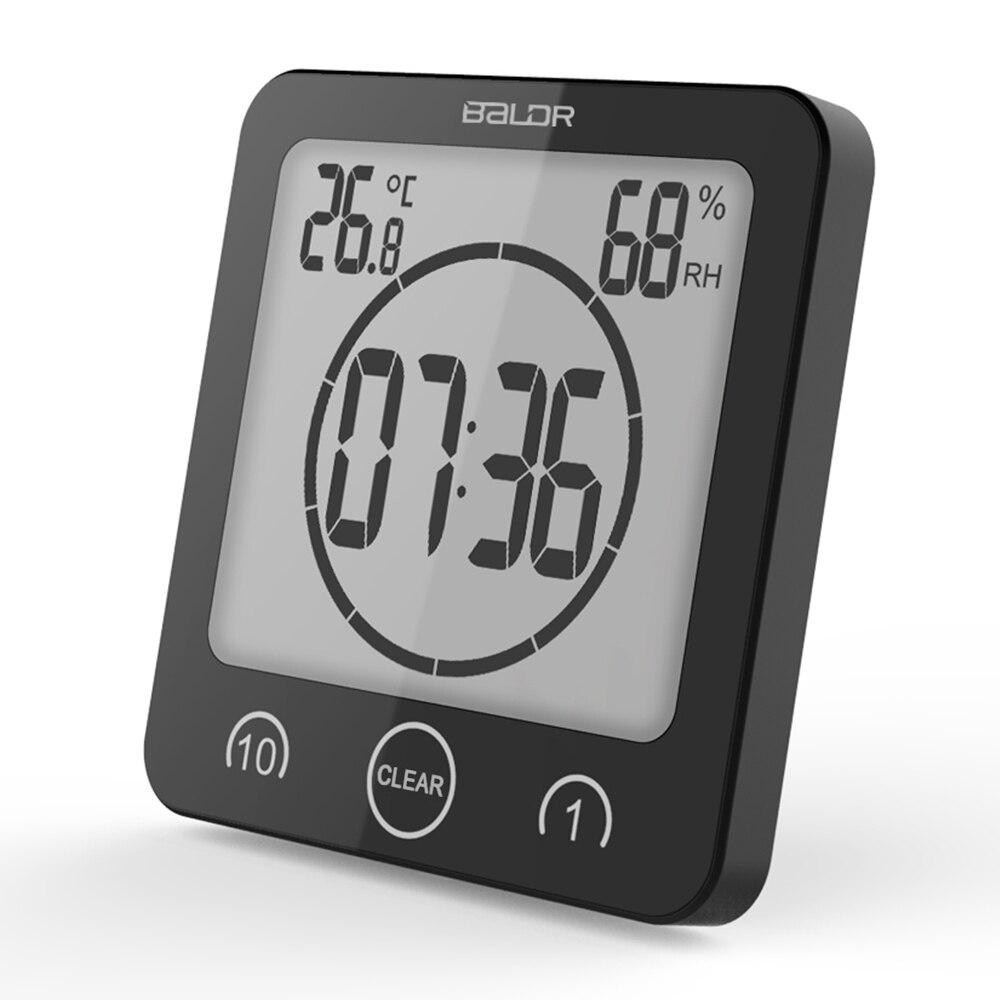 Baldr Numérique Minuterie Horloge Alarme Compte À Rebours Thermomètre Hygromètre Salle De Bains Douche Maquillage Chronomètre Cuisine Ventouse Horloge Murale