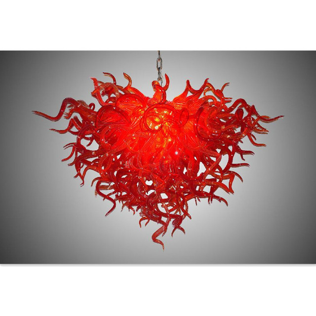 New Design Red Rattan Led N Glass Chandelier Lightings Art Decor