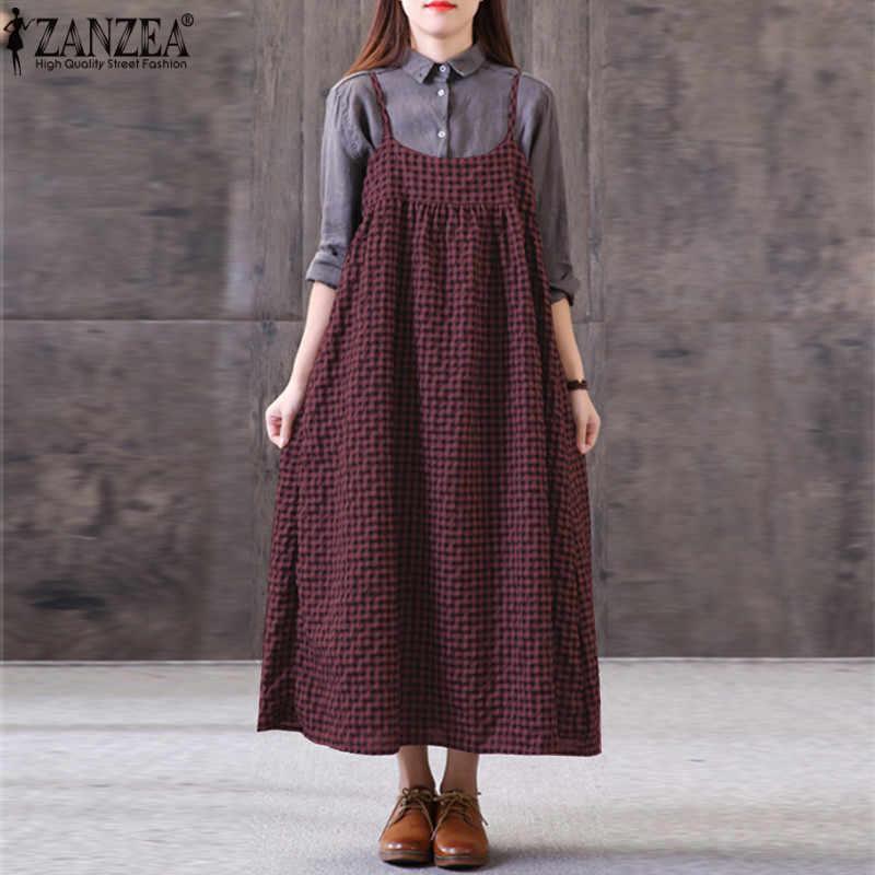 ZANZEA/летнее женское платье без рукавов с круглым вырезом, с ремешками, в клетку, повседневные Свободные мешковатые Вечерние платья из хлопка и льна, большие размеры