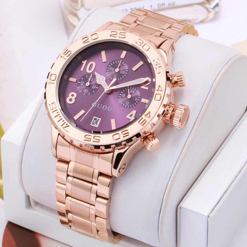 Marca de luxo grande dial senhoras homem unisex cheio ouro aço banda três olhos calendário à prova dwaterproof água masculino moda quartzo vestido relógios