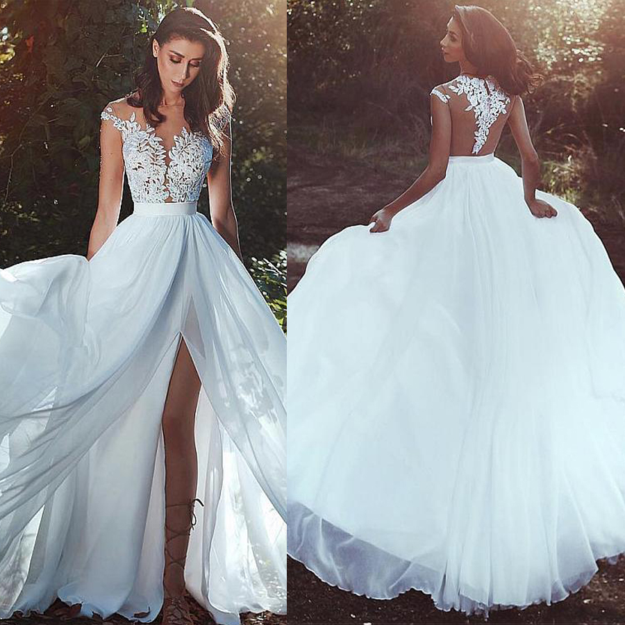 Graceful Chiffon Jewel Neckline A line Wedding Dress With Lace Appliques See Through Bodice Front Slit