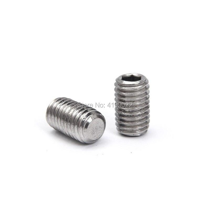 M2 x 6mm 2mm A2 Stainless Steel Flat Point Grub Hex Socket Set Screws Metric DIN913 100pcs//lot M2