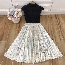Baogarret Summer Women Vestidos 2019 Floral Hollow Out Sleeveless Vintage Midi Dresses Holiday Party Beige Black Robe Femme