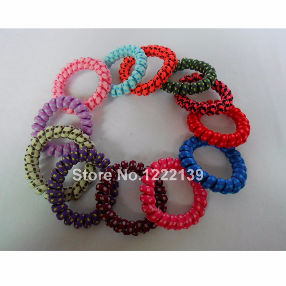 Telephone Wire Hair Band Wrapped Cotton Cloth Dot Design Ponytail Holder  Elastic Phone Cord Line Hair Tie Hair Accessories c32ab3e964f