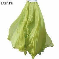 2017 Quality Summer Solid Long Chiffon Skirts For Women Bohemia 8 Meters Expansion Maxi Beach Skirt