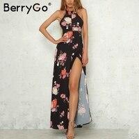 BerryGo Halter Backless Maxi Summer Dress Women Sleeveless Hollow Out Long Dress Floral Print Beach Dress