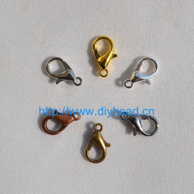 50 pz FAI DA TE risultati dei monili e componenti, Braccialetto Dipartimento, 12*6mm Oro/Rhodium/Nero/argento Fermagli Aragosta Artiglio Chiusura