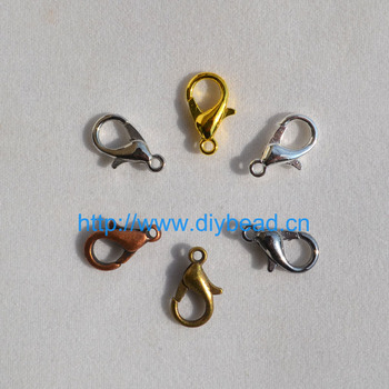 50pcs DIY jewelry findings & components,Bracelet Department,12*6mm Gold/Rhodium/Black/Silver Lobster Clasps Claw Clasp