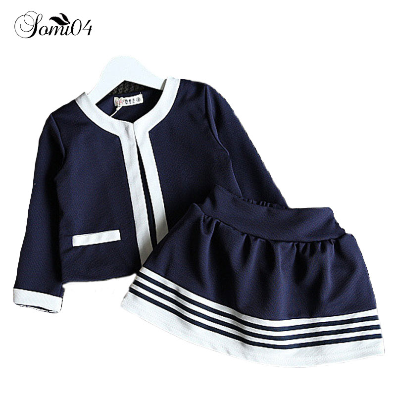2018 Spring Autumn Kids Girls Clothing Set Navy Blue Short Jacket + Striped Skirts Suit Little Girl School Formal Clothes Outfit 2pcs children outfit clothes kids baby girl off shoulder cotton ruffled sleeve tops striped t shirt blue denim jeans sunsuit set