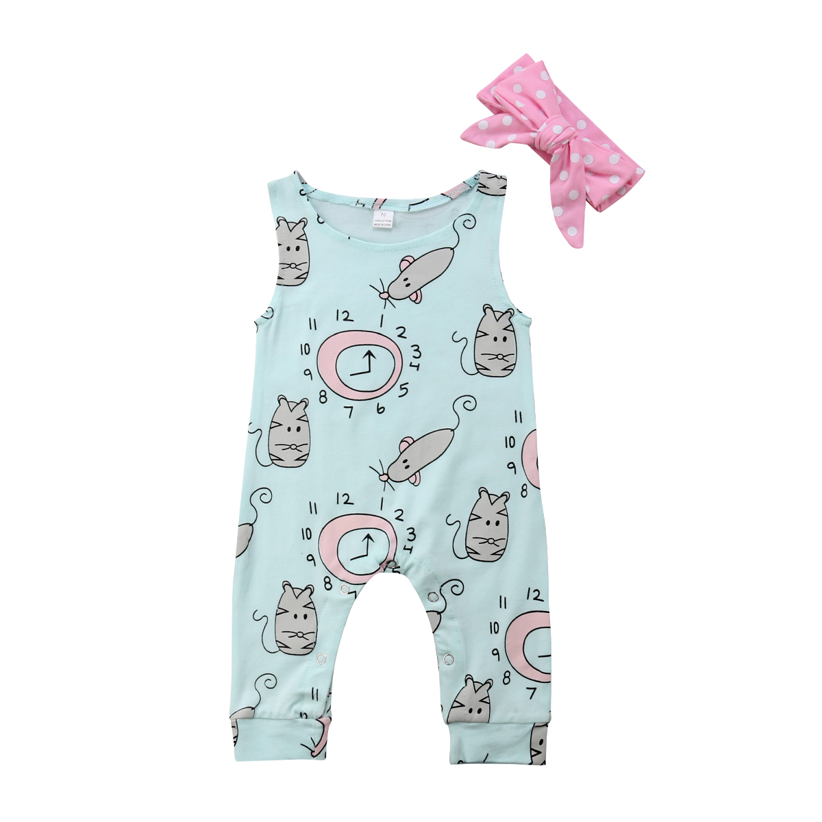 Initiative 2018 Brand New Newborn Toddler Infant Baby Girl Clothes Flower Jumpsuit Romper headband 2pcs Outfit Clock Mouse Printed Sunsuit Mother & Kids
