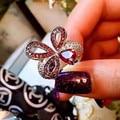 Designer de Moda 925 Sterling Silver Jewelry Platinadas 3A Cubic Zirconia Partido Anel Borboleta