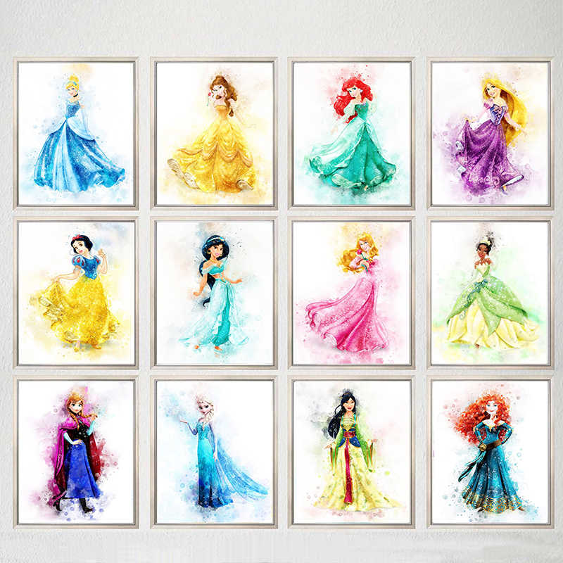 All Princess Watercolor Painting Canvas Print Nursery Wall Art Poster Elsa Anna Party HD Picture Baby Girls Bedroom Nodic Decor