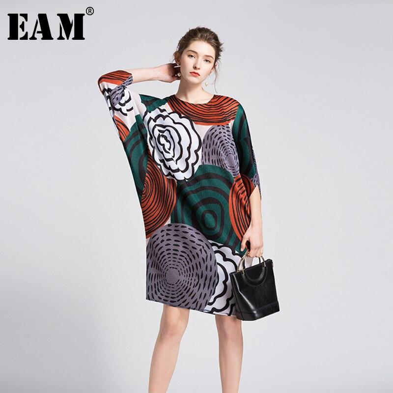 [EAM] 2019 Новое весенне-летнее платье с круглым вырезом, с длинным рукавом, хит цвета, с принтом, свободное платье большого размера, женская мода...