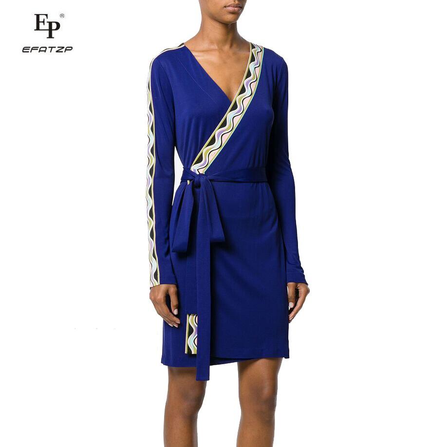 New 2018 Autumn Fashion Designer Dress Women's V-Neck Long Sleeves blue Geometric Print XXL Stretch Jersey Slim Silk Day Dress