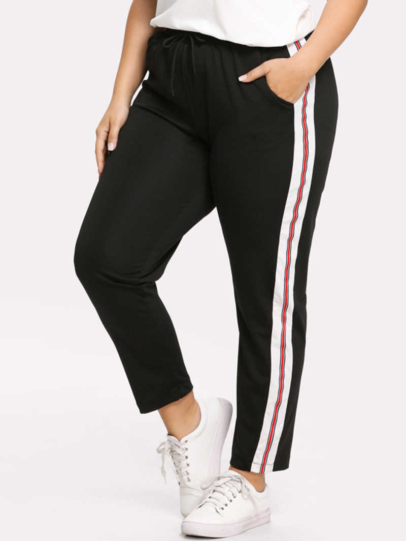 634354198bd Yileen Plus Size Women Pants Patchwork Striped Solid Pant Harem Casual  Regular Trousers Mid Elastic Waist
