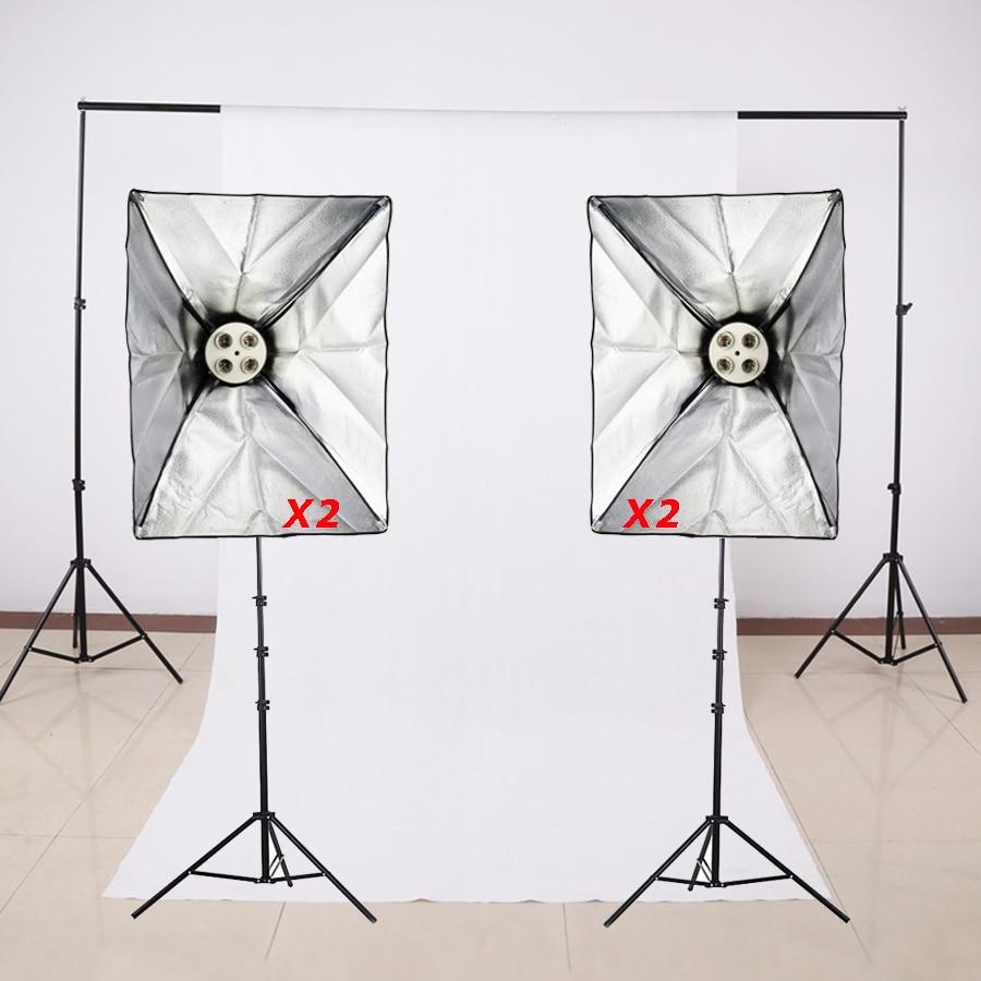Photography Studio Soft Box Lighting Kits Light Stand+SoftBox+E27 4 Lamp Holder+Background Cross Bar+Backdrop Photo Studio Set 4 55w color soft lights lamp stage lighting film and television studio