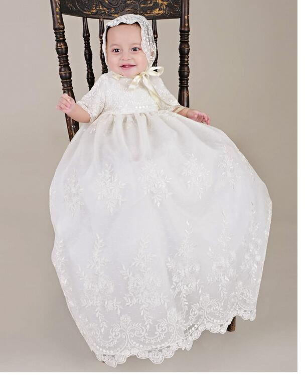 Baby Girls Christening Dress 2017 Euro Vintage Shortsleeve Toddler Long Formal Dress Lace Beige Newborn Birthday Baptism Dresses