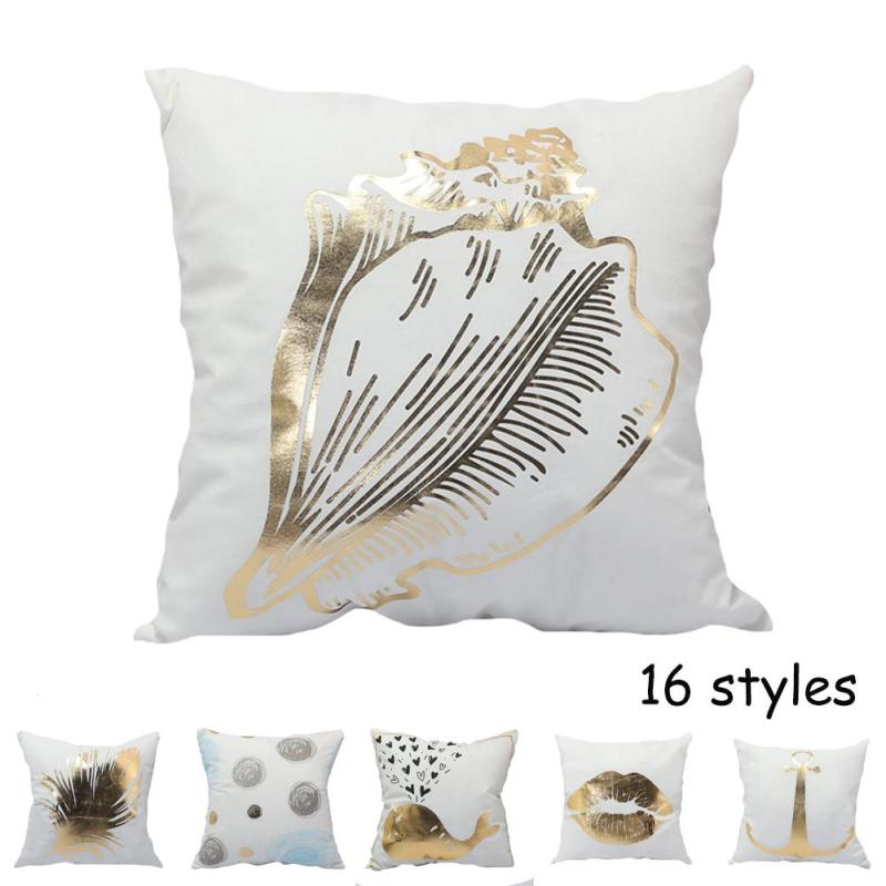 White Gold Bronzing Cushion Cover Luxury Decorative Cotton Pillow Case Bedroom Home Office Throw Pillowcases For Sofa Seat V1