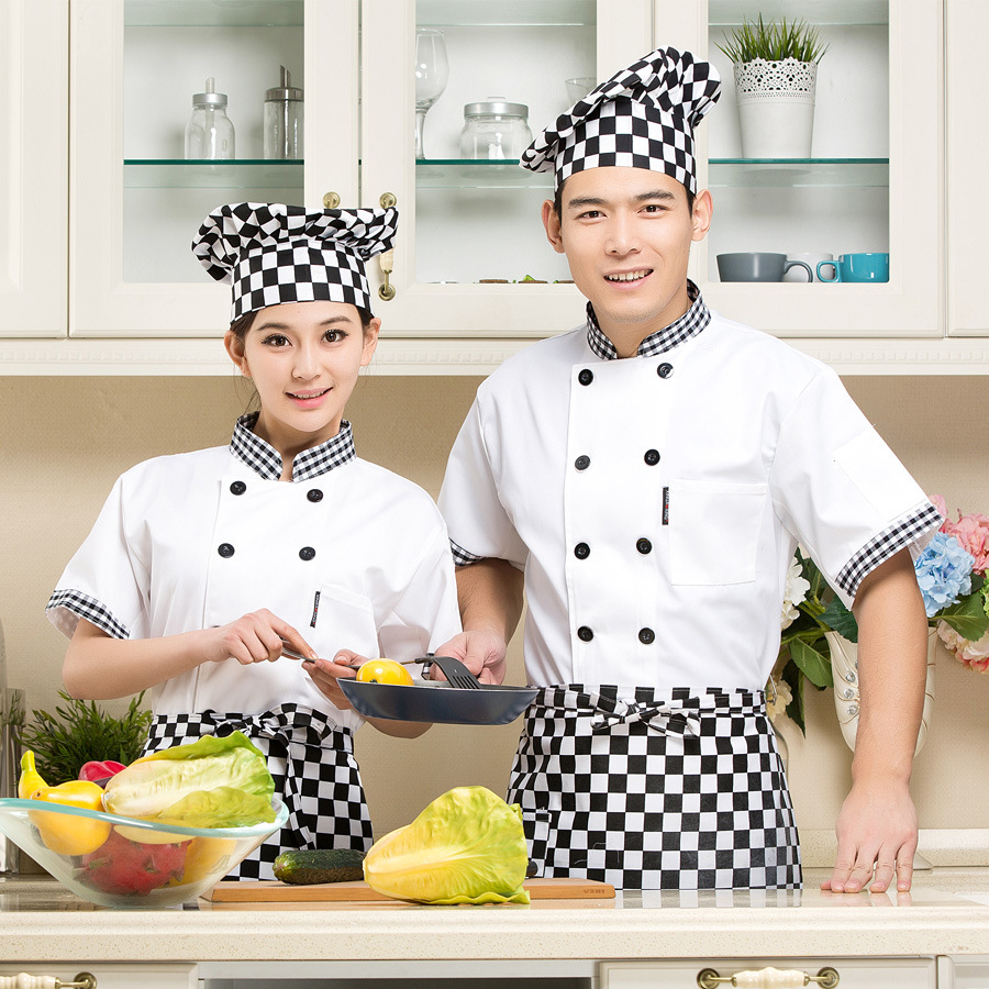 New Arrival Summer Chef Jacket Restaurant Kitchen Chef Uniform Short Sleeved Clothes Hotel Restaurant Dining Room Clothes B-6078