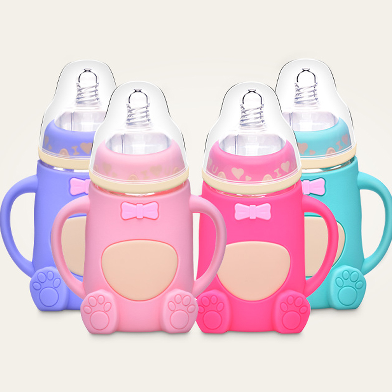 Cute Cartoon Baby Milk Feeding Bottle Kids Cup Safe Infant Juice