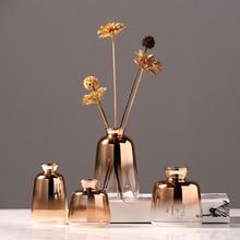 цена на Modern glass vase Originality Golden gradation Tabletop Hydroponics small vases  wedding home decoration Flower organ