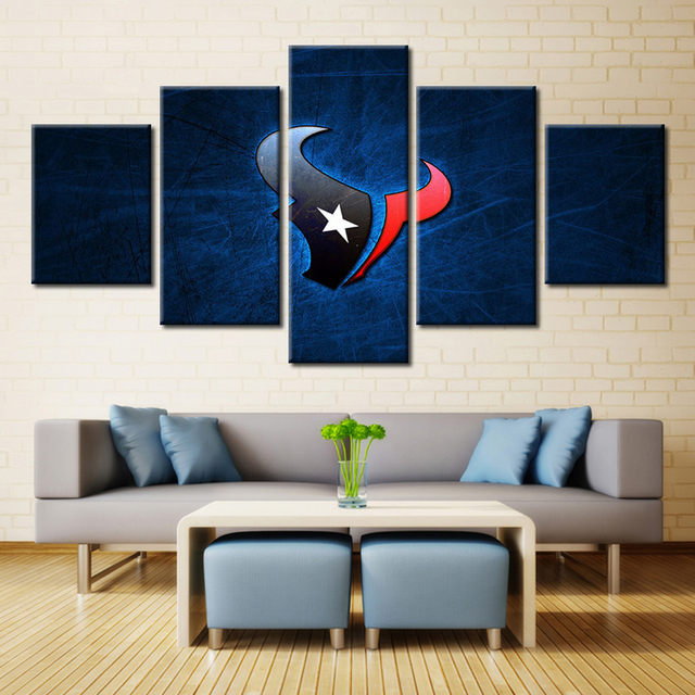 Forbeauty Houston Texans Team Logo Landscape Painting Canvas Printing Modern Home Wall Decor Picture For Livingroom