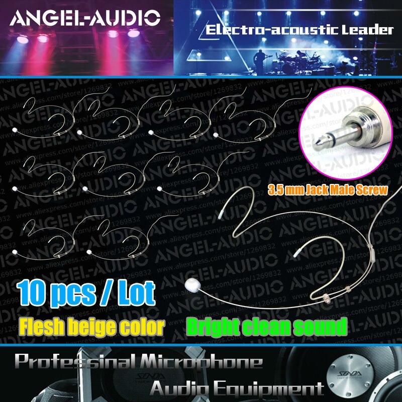 Free Shipping 10PCS LOT 3 5mm Jack Male Screw Thread Beige Color Earhook Headset Wireless Microphone