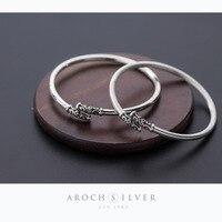 ABC silver, S925, silver, fashion, Thai silver, antique Golden hoop bracelet.
