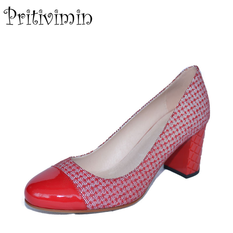 2018 ladies round toe handmade pumps women red-white genuine leather high heel girls fashion autumn office shoes Pritivimin FN21 2017 ladies round toe handmade shoes women genuine leather high heels girls fashion spring autumn office pumps pritivimin fn20