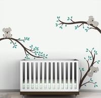 Hot Sale Koala Tree Wall Sticker Sleeping Koaka on tree branch Kids Nursery Bedroom Wall Sticker DIY Home Decor Mural NY 196