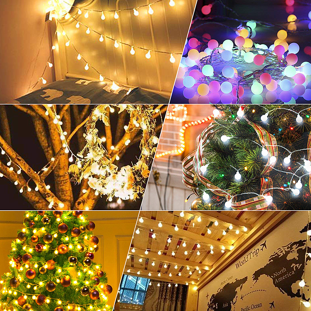 1 5m Street Garland Battery Led Fairy Christmas Tree Lights Outdoor Indoor Decoration String Ball New Year Xmas Light In From