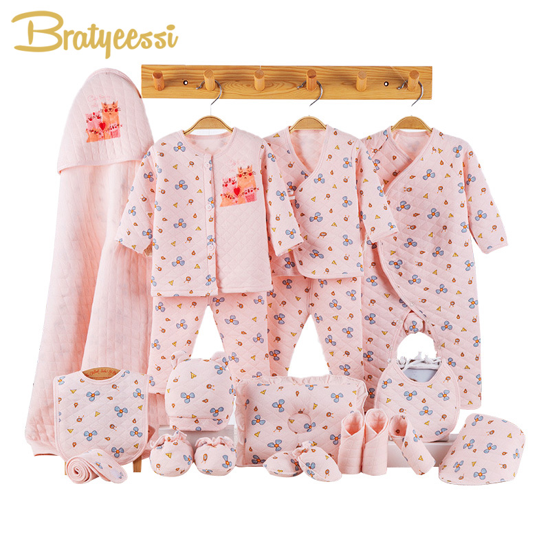 Cartoon Newborn Baby Girl Clothes Winter Thick Cotton Toddler Baby Boy Clothes Set Infant Clothing New Born Gift Set 3 Colors цена