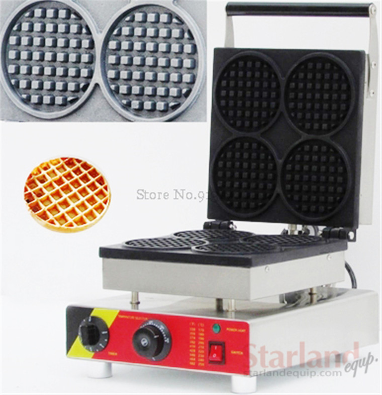 Waffle machine with 4 pcs moulds commercial stainless steel round shape waffle maker snack machine 110v/220v CE 10oz stainless steel 110v 220v electric commercial popcorn machine with temperature control