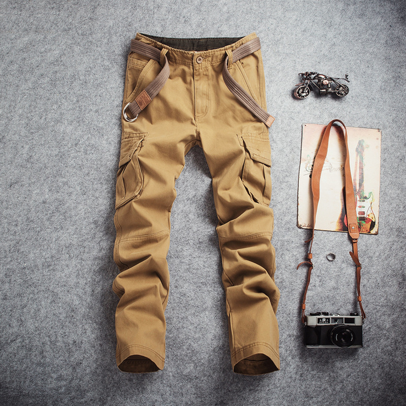 Big Size Multi Pocket Loose Straight Mens Overalls Pants Male Outdoor Hiking Camping Climbing Wearproof Breathable Long Trousers pocket