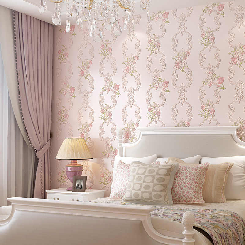 Sweet Flowers Wedding Rooms Wallpaper Stickers Romantic Stripe Curve Baby Girl Bedroom Wall Paper Home Decor 3d Sticker Qt032