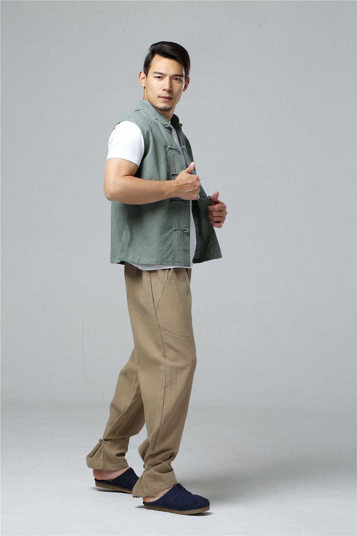 LZJN 2019 Men's Summer Waistcoat Chinese Style Vintage Breathable Linen Button Down Kung Fu Shirt Sleeveless Vest Jacket  (25)