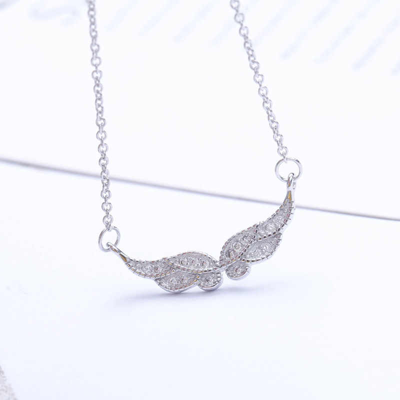 2019 Fashion Jewelry 925 Sterling Silver Angel Wings Necklaces Pendants For Women Long Chain Necklaces Collar Mujer Collares