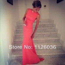 Freies Verschiffen Beste Verkauf Satin Mantel Formfitting High Neck Coral Mermaid Abendkleid Lange Backless Hochzeit Ereignis Kleid
