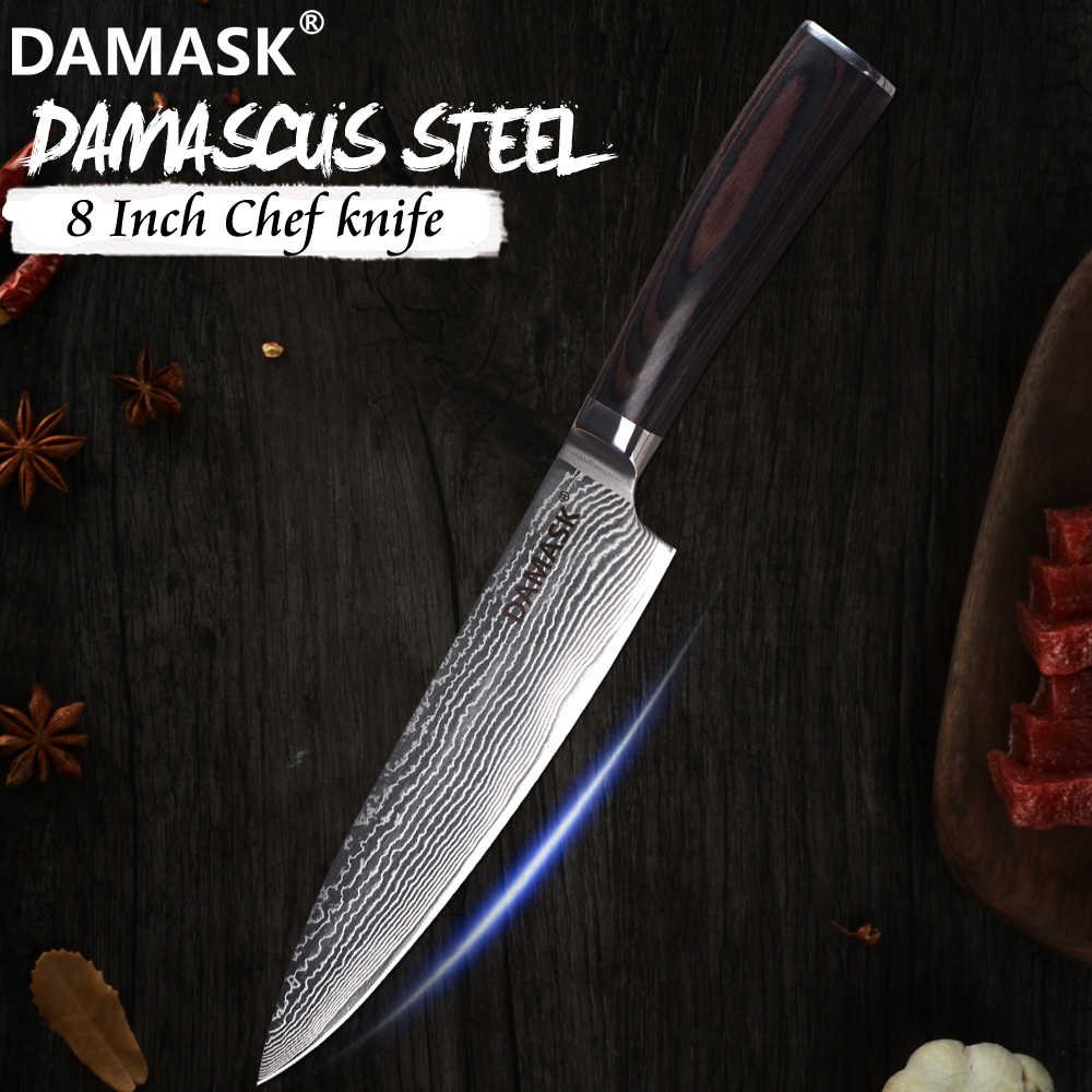 Damask Chef Knife 8 inch Damascus Blade Japanese Cooking Knife 67 Layer VG10 Steel Kitchen Cutlery Master Chef Recommend Tools