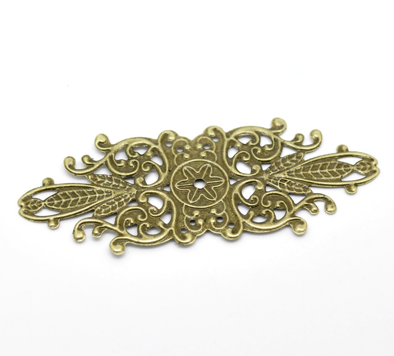 DoreenBeads 30 Antique Bronze Filigree Flower Wraps Connectors Embellishments Findings 8.5x3.4cm (B18553) 8seasons 10 antique bronze filigree flower embellishments findings 5 5x4 8cm can hold ss10 rhinestone b18567