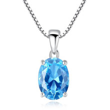 Women Pendant Necklace For Wedding 925 Sterling-Silver-Jewelry Blue Oval Topaz Stone Party Necklaces Fine Jewelry hutang stone jewelry natural green turquoise blue topaz pendant solid 925 sterling silver necklace fine jewelry for women gift
