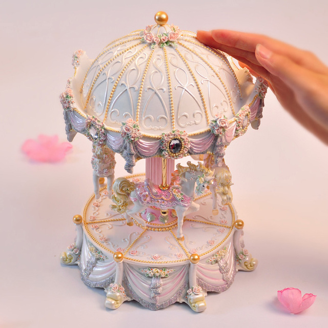 WS Arts Big Size Carousel Music Box Up and Down Merry-Go-Round Musical Boxes LED flash lights Love Girl Valentine's Day Gifts